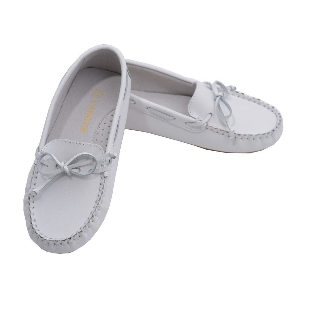 f75804723cc Shop L Amour Toddler Girls White Bow Leather Moccasin 7-10 Toddler - Free  Shipping Today - Overstock - 23080648