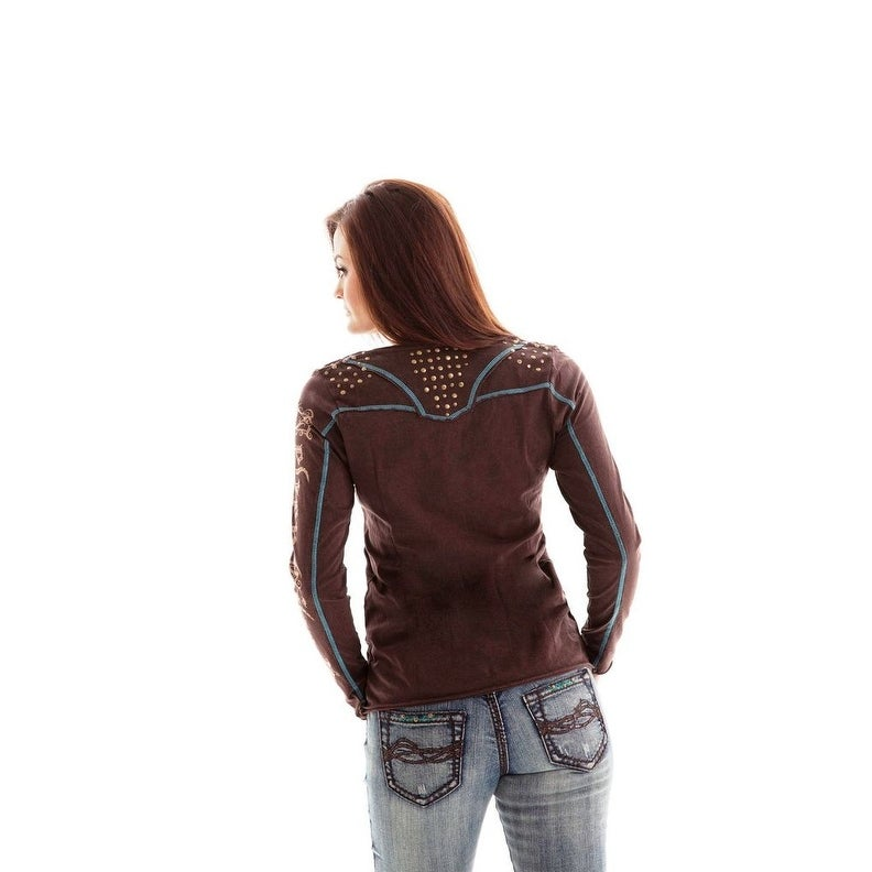 26463e4ea Shop Cowgirl Tuff Western Shirt Womens L/S Tee Studs Rustic Brown - xs -  Free Shipping Today - Overstock - 15417372