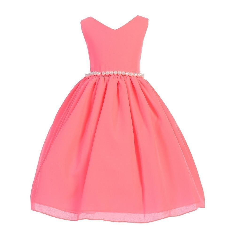 Girls Neon Pink Wool Dobby V-neck Pearl Waist Junior Bridesmaid ...