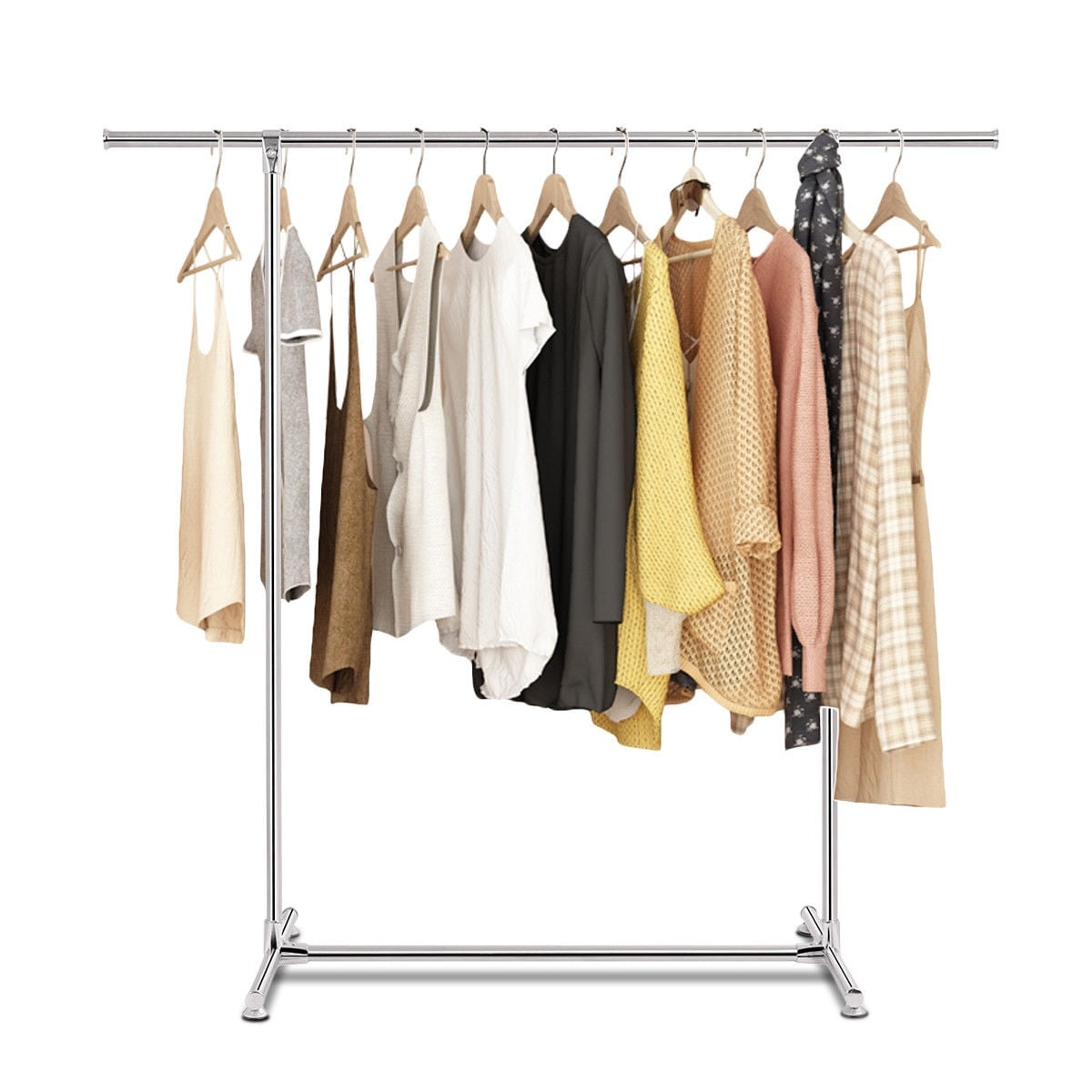 Shop Costway Heavy Duty Stainless Steel Garment Rack Clothes Hanging