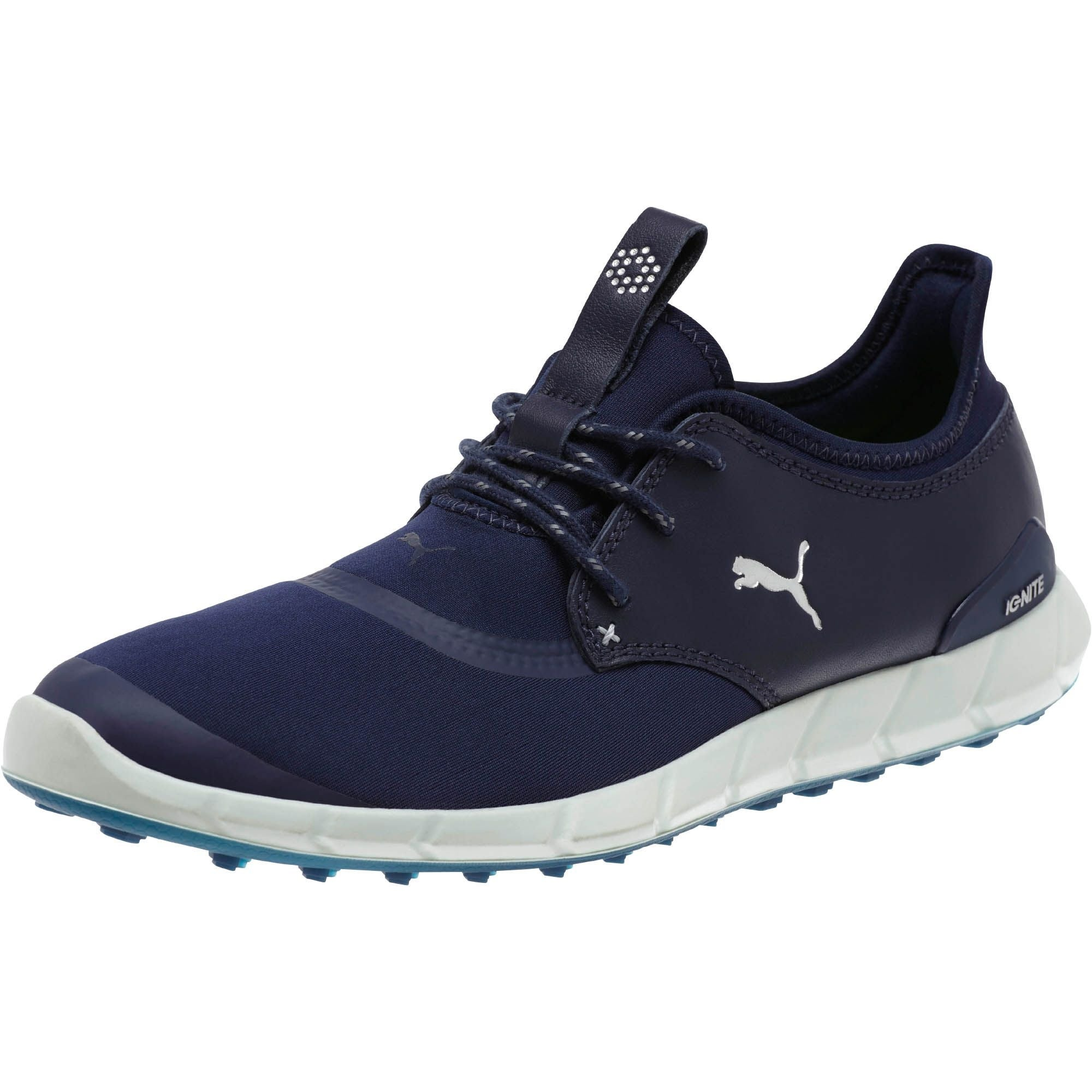 Shop Puma Men s Ignite Spikeless Sport Peacoat Navy Silver  White Golf  Shoes 189416-03 - Free Shipping Today - Overstock - 20059182 a033d449c