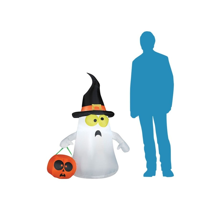 48d7d513fe5 Shop Airblown Ghost with a Witch Hat For Outdoor Halloween   Holiday  Decorations or Haunted House Décor - Free Shipping On Orders Over  45 -  Overstock - ...
