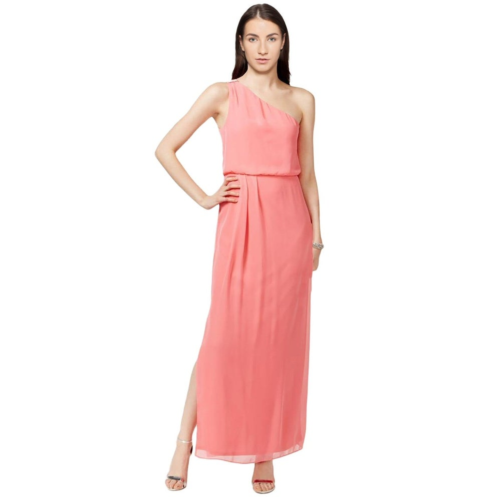 Shop Adrianna by Adrianna Papell One Shoulder Chiffon Draped Evening ...