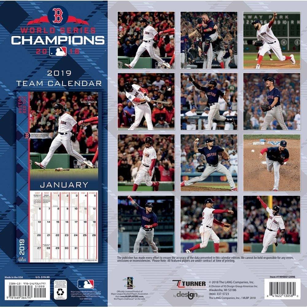 Shop 2019 Boston Red Sox World Series Wall Calendar Boston Red Sox