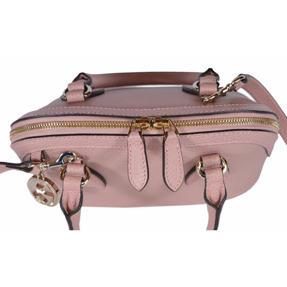 1c0f9fc4ca12 Shop Gucci 449661 Soft Pink Leather 2-Way Convertible GG Charm Small Dome  Purse - BABY PINK - 9.06 x 7.48 x 4.72 inches - Free Shipping Today -  Overstock - ...