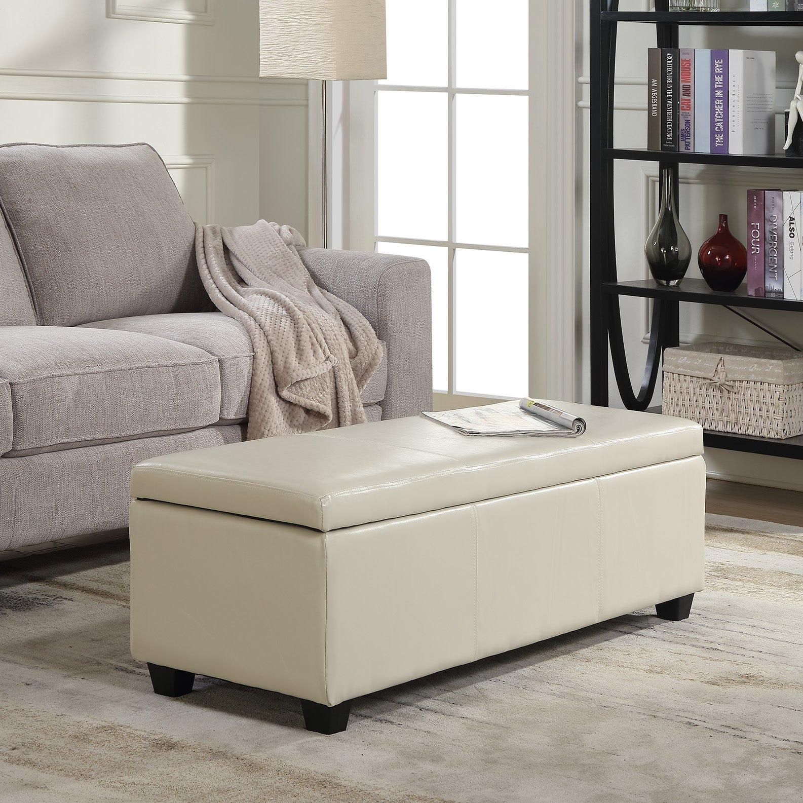 Belleze modern elegant ottoman storage bench living bedroom room home faux leather 48 inch cream