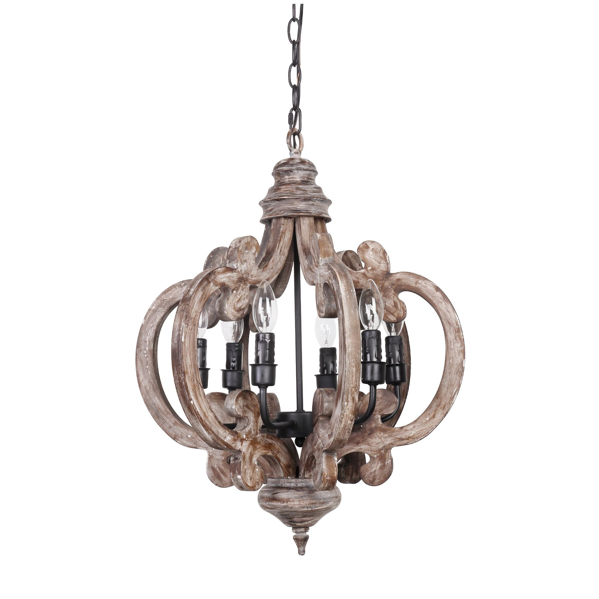 wood chandelier lighting. Plain Wood Shop Distressed Antique White 6Light Wood Chandelier  On Sale Free  Shipping Today Overstockcom 19288142 Inside Lighting