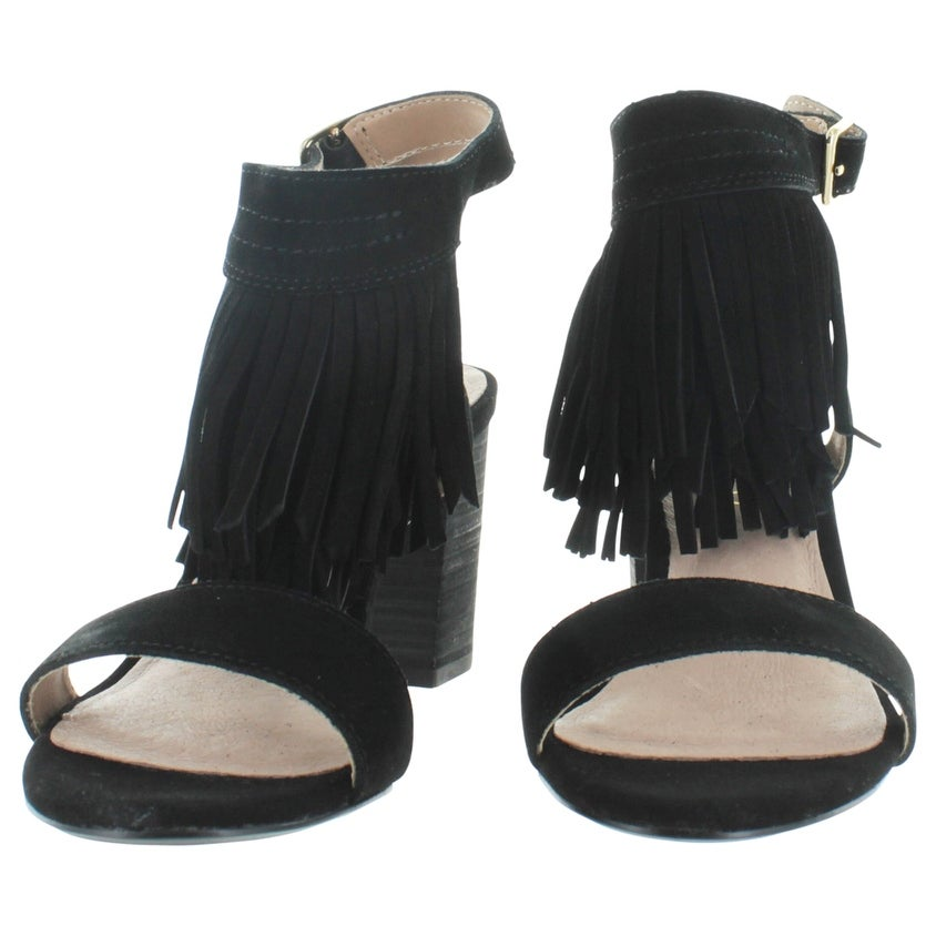 b13f9275f Shop Restricted Kissy Women s Fringe Chunky Heel Sandals - Free Shipping On  Orders Over  45 - Overstock - 15952458