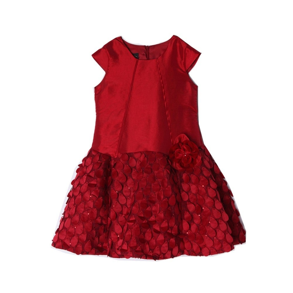 50602350d Shop Isobella   Chloe Little Girls Red Taffeta Petals Flower ...
