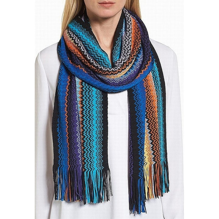 677007937 Shop Missoni NEW Blue Multicolored Zigzag Wool Blend Fringe Women's Scarf -  Free Shipping Today - Overstock - 21586284