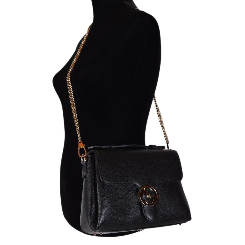 c14cfa5399 Shop Gucci 510302 Black Leather Interlocking GG Clasp Convertible Purse  Handbag - Free Shipping Today - Overstock - 22086517