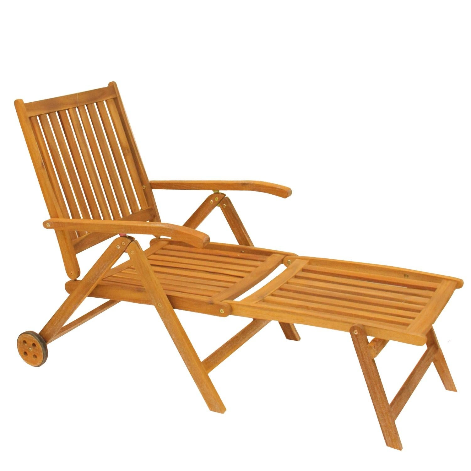 Shop 55 Acacia Wood Outdoor Patio Chaise Lounge Chair Brown