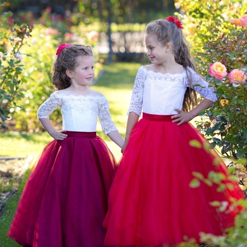 92a42801274 Shop Triumph Dress Girls Ivory Burgundy Tulle Lace Lucia Flower Girl Dress  - Free Shipping Today - Overstock - 19293296