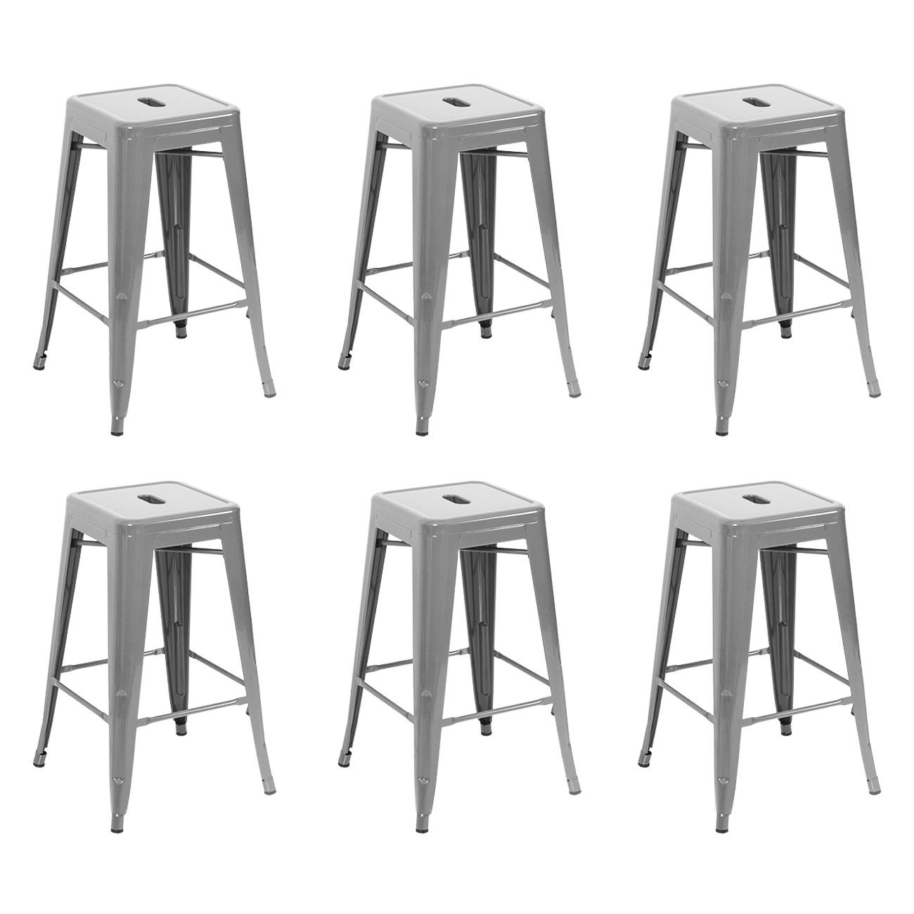 Shop Belleze 26 Inch Metal Counter Stools Stackable Silver Set Of