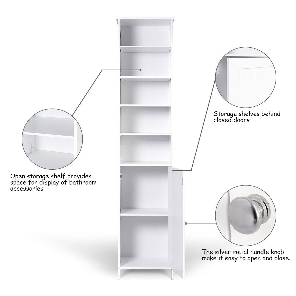 Shop Costway 72\'\'H Bathroom Tall Floor Storage Cabinet Free Standing ...