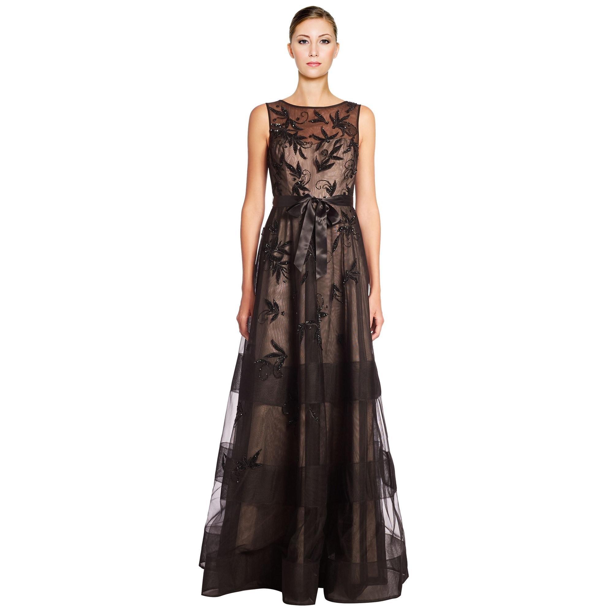 Teri Jon Floral Applique Embellished Tulle Evening Gown Dress ...
