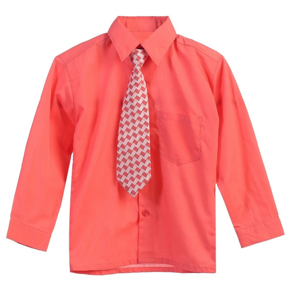 a67de171fc9cdd Shop Boys Coral Tie Long Sleeve Button Special Occasion Dress Shirt - Free  Shipping On Orders Over $45 - Overstock - 28293668