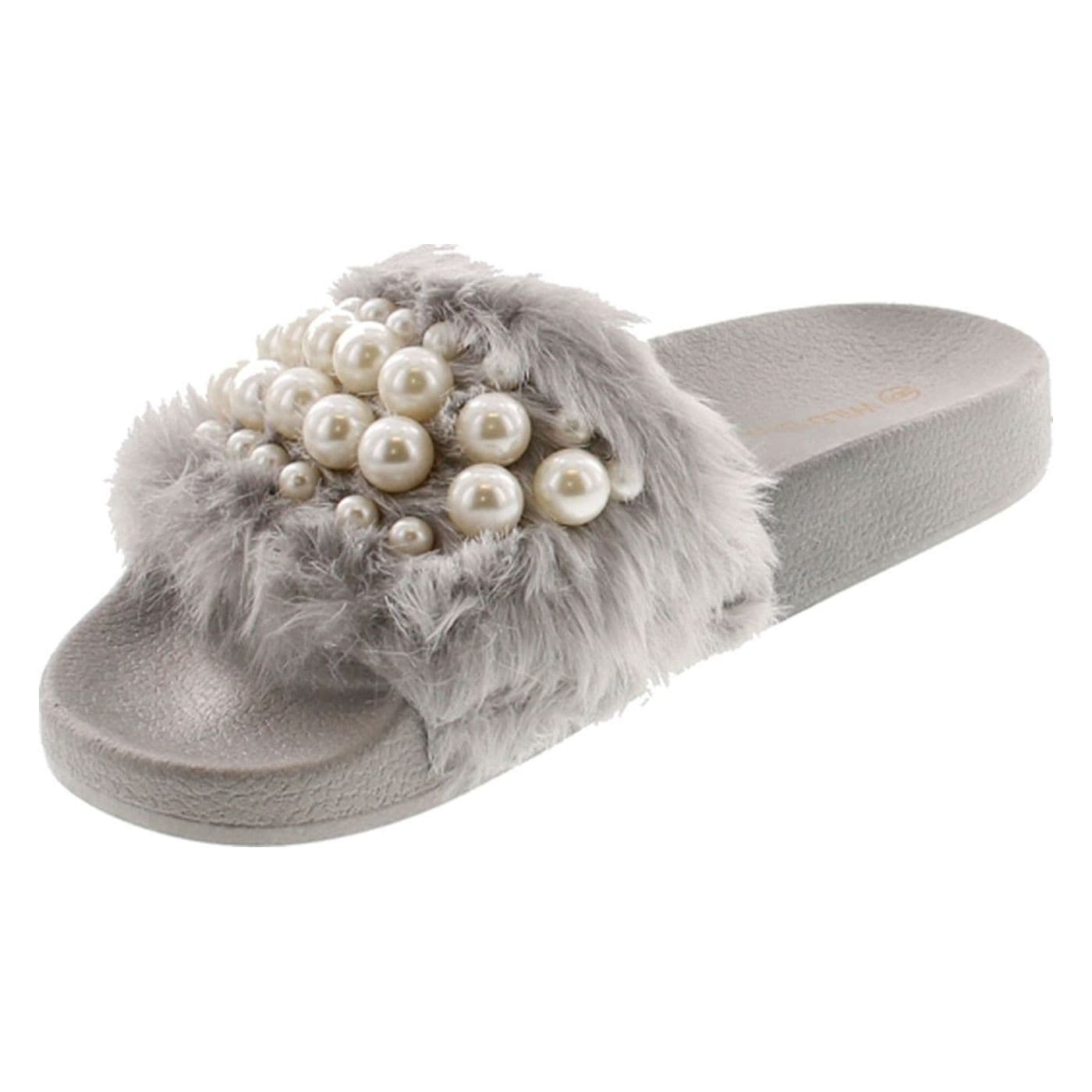 022f3713105 Shop Wild Diva Women s Matty-04A Embellished Pearl Faux Fur Platform Wedge  Slide Sandal - Free Shipping On Orders Over  45 - Overstock - 20908533