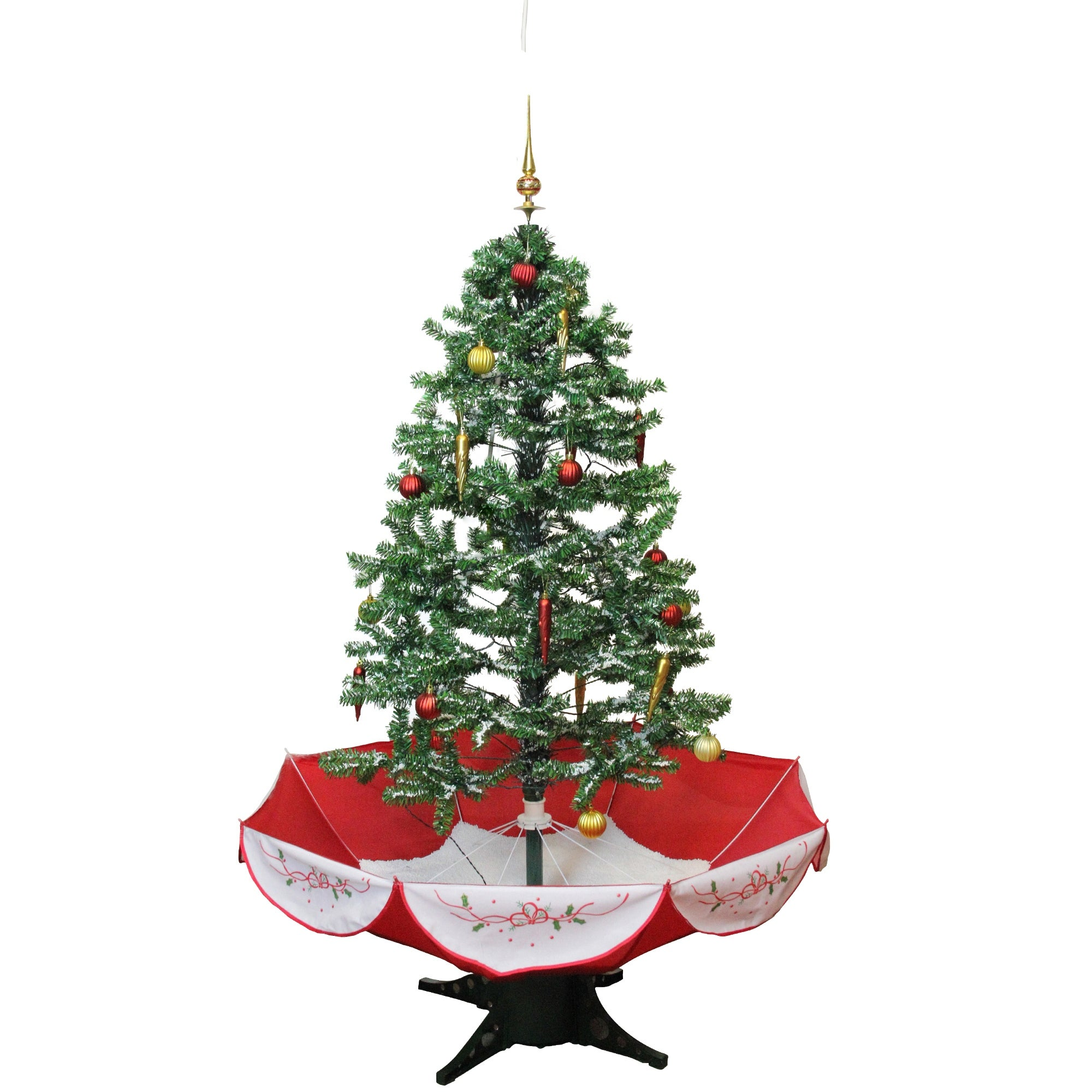 4 5 Pre Lit Musical Snowing Artificial Christmas Tree With Umbrella Base Blue Led Lights 4 5 Foot