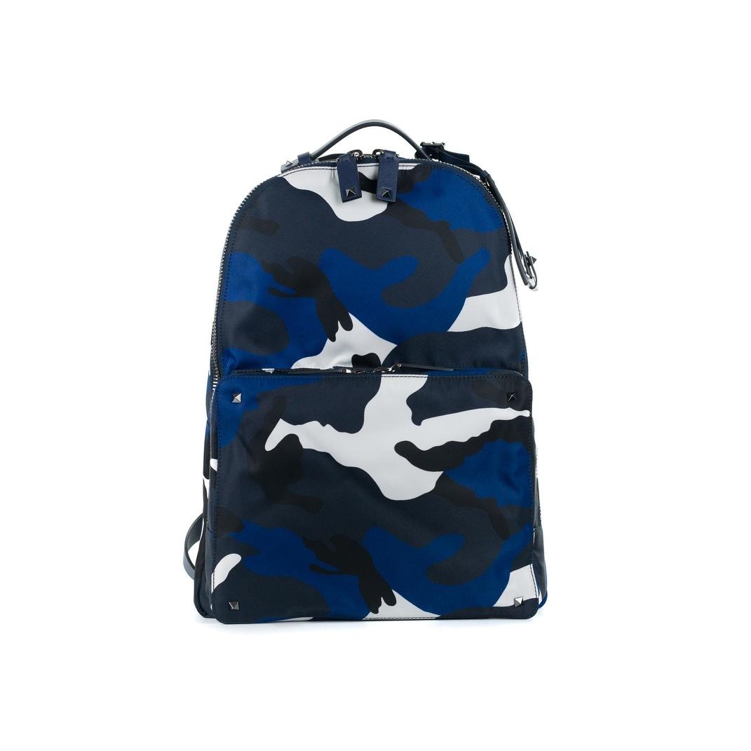 Shop Valentino Navy Rockstud Camouflage Print Nylon Backpack - Free ... 47f88a6791db6