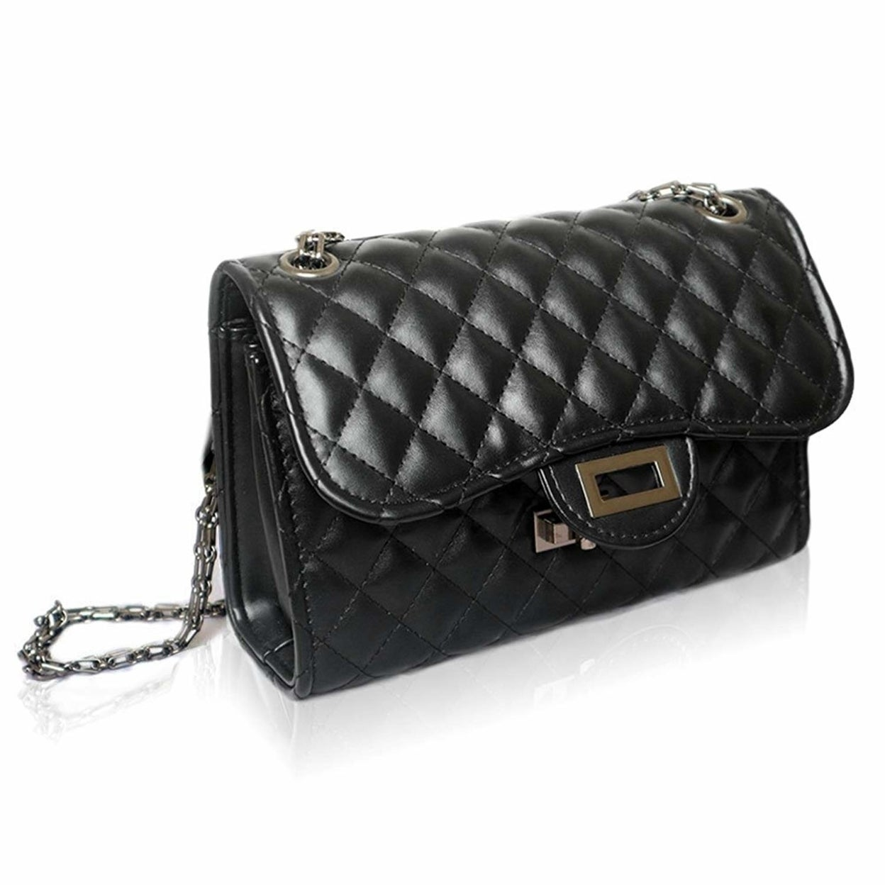 f5fd4b8d0b10 Small Classic Crossbody Shoulder Bag for Women Quilted Purse With Metal  Chain Strap