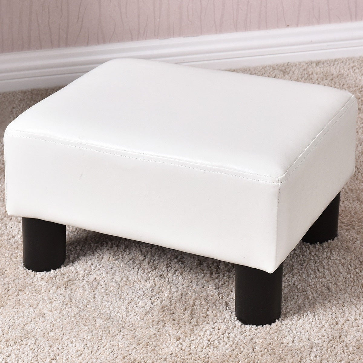 Costway Small Ottoman Footrest PU Leather Footstool Rectangular Seat Stool  White - Free Shipping On Orders Over $45 - Overstock.com - 24790152