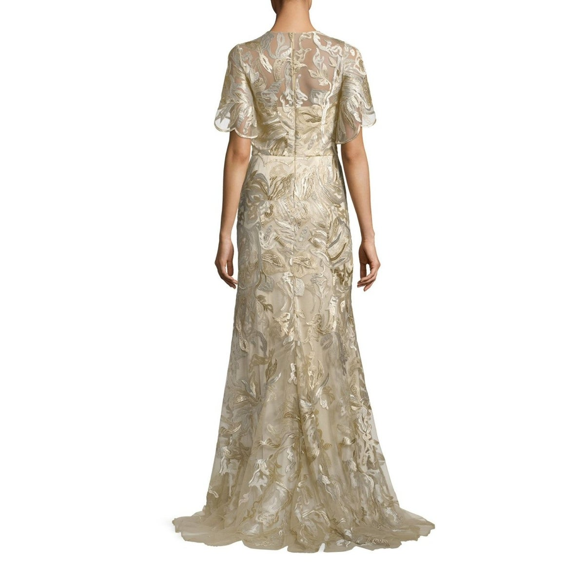 Shop David Meister Metallic Embroidered Evening Gown Dress Gold ...