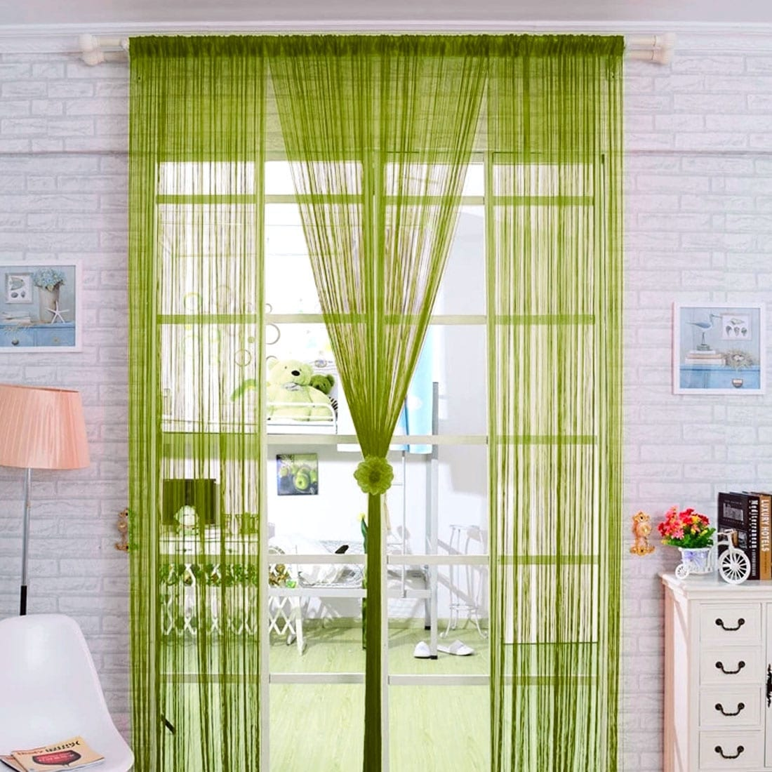 Shop Home Solid Rod Pocket String Curtains Panel Drapes for Window ...