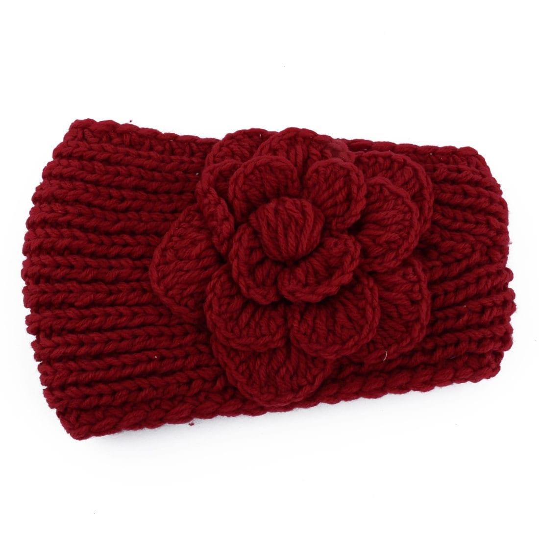 Winter Women Knitting Crochet Camellia Flower Hair Headband Headwrap Dark  Red 006bc4cfba2