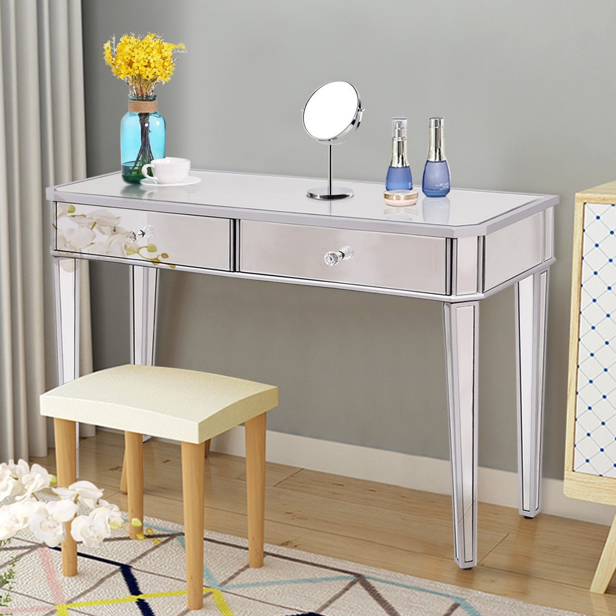 Costway 2 Drawer Mirrored Vanity Make Up Desk Console Dressing Silver Gl Table Modern Sliver Free Shipping Today 18910637