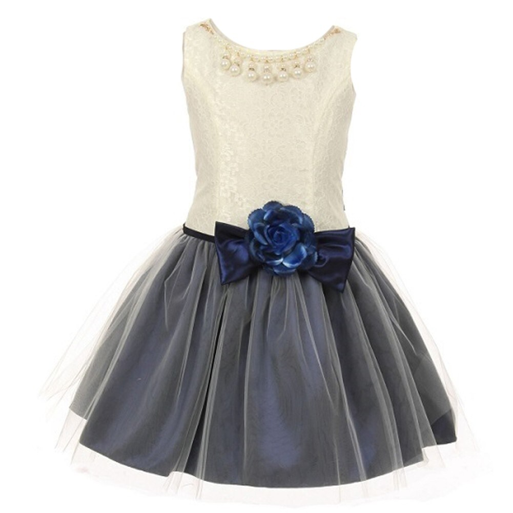 Shop Little Girls Navy Ivory Lace Taffeta Pearl Stone Accent Flower