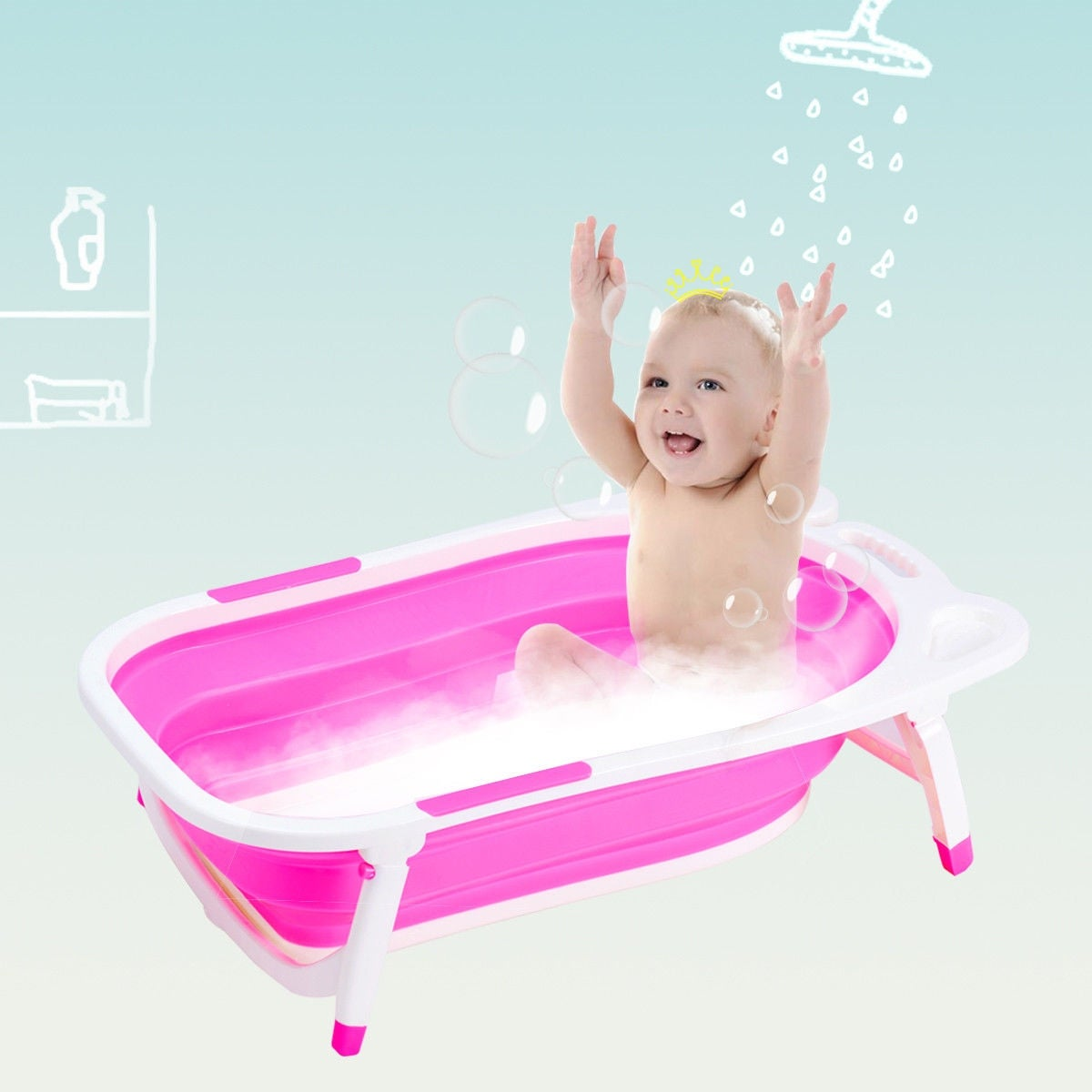 Shop Gymax Pink Baby Folding Bathtub Infant Collapsible Portable ...