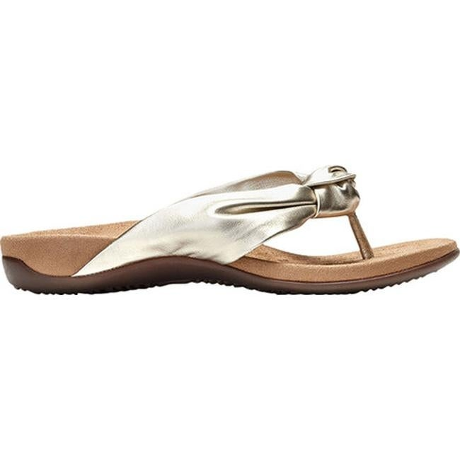 f4c814f0b8eb Shop Vionic Women s Pippa Thong Sandal Champagne Leather - On Sale - Free  Shipping Today - Overstock - 25605606