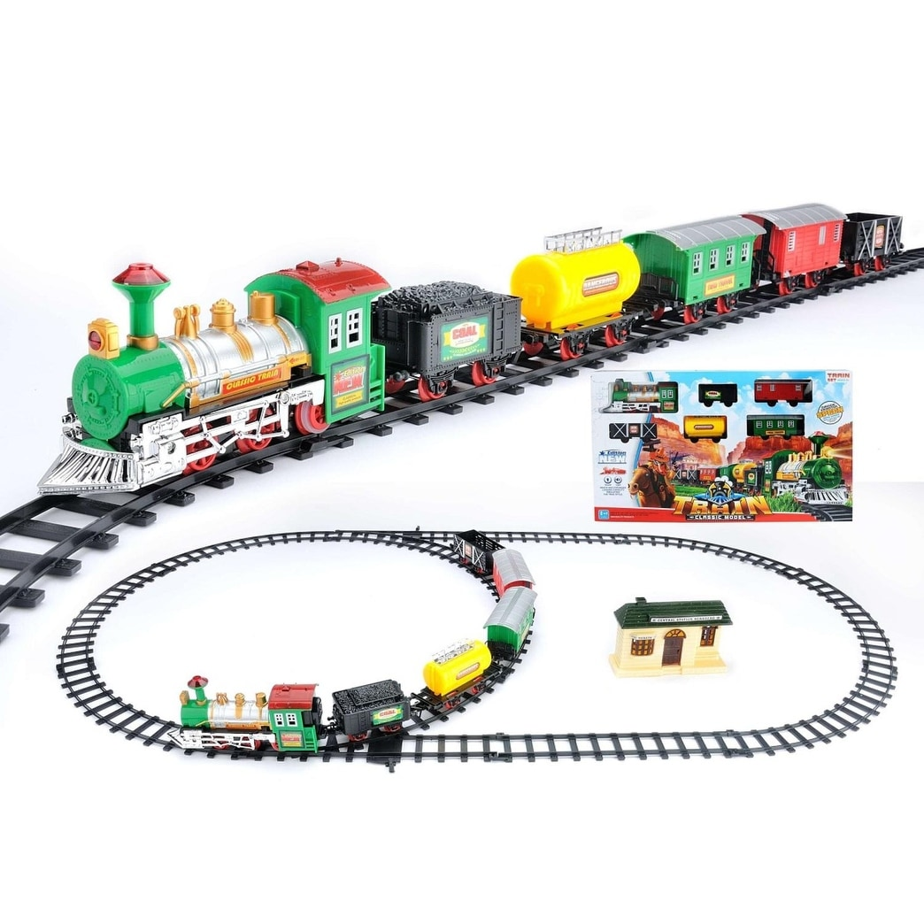 18 Piece Battery Operated Lighted Animated Classic Model Train Set With Sound Overstock 18869063