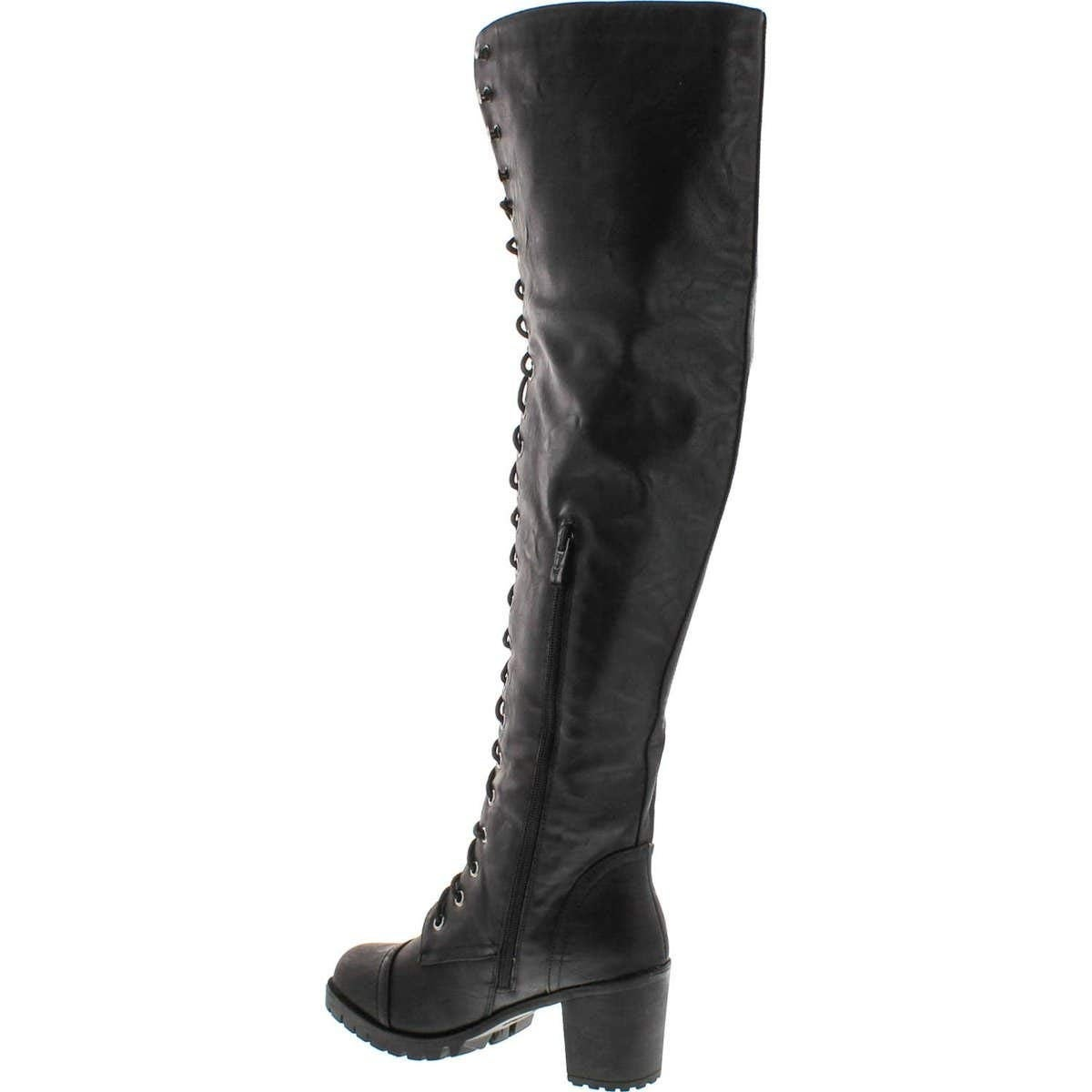 9f29916543b Shop Shoe Dezigns Illusion 01 Ok Womens Thigh High Lace up Chunk Heel  Combat Boots - 11 - Free Shipping On Orders Over  45 - Overstock - 25442944