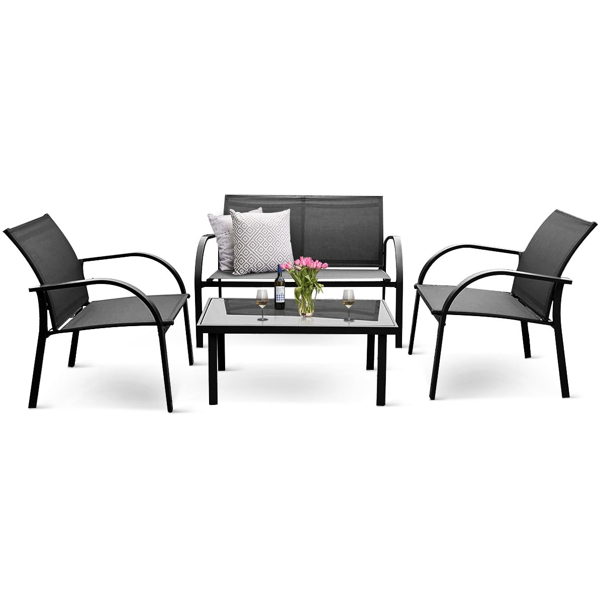Costway 10PCS Patio Garden Furniture Set Steel Frame Outdoor Lawn Sofa  Chairs Table Gray