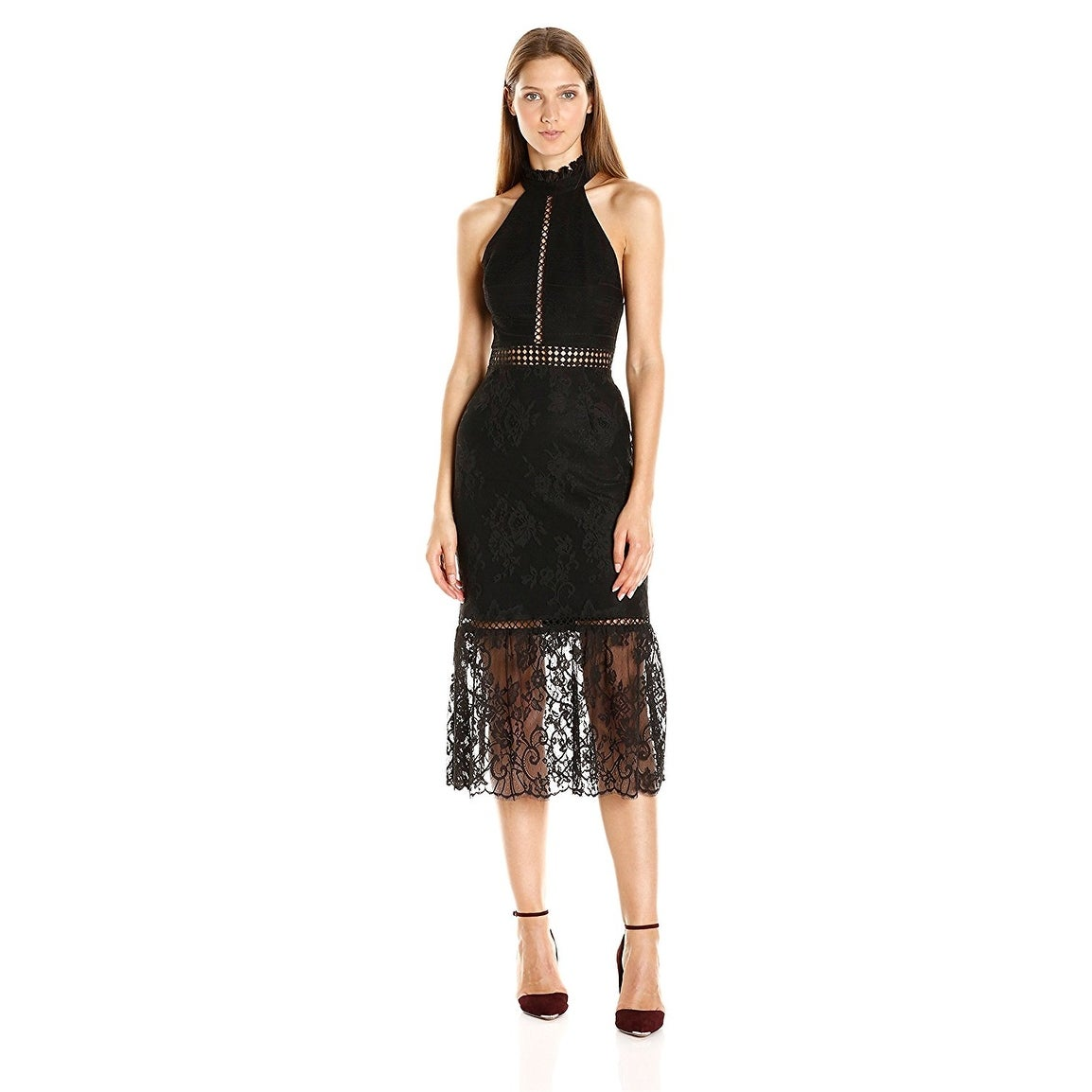 ABS by Allen Schwartz Halter Lace Ruffle Hem Cocktail Evening Dress ...