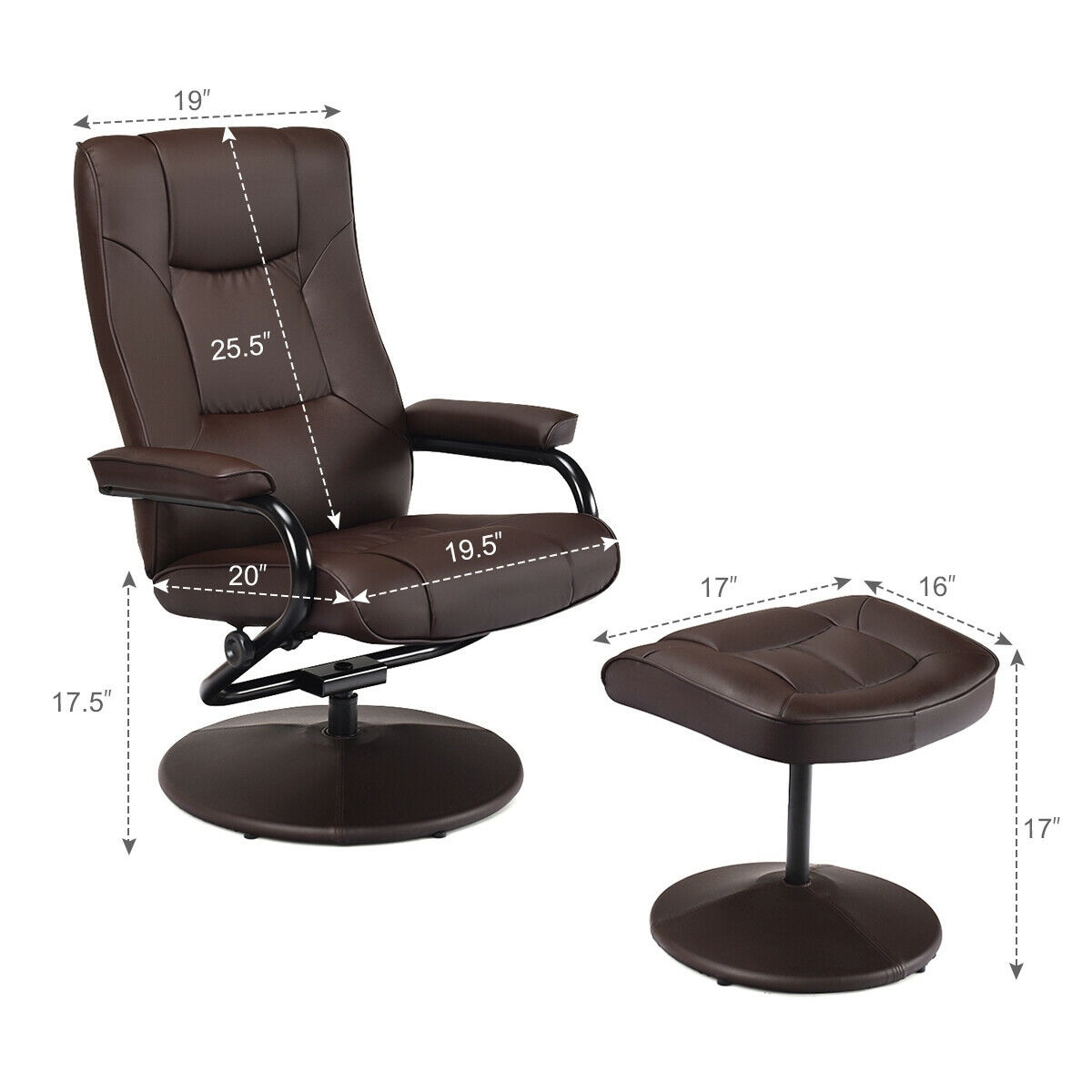 Costway Recliner Chair Swivel Armchair Lounge Seat W Footrest Stool Ottoman Home Brown