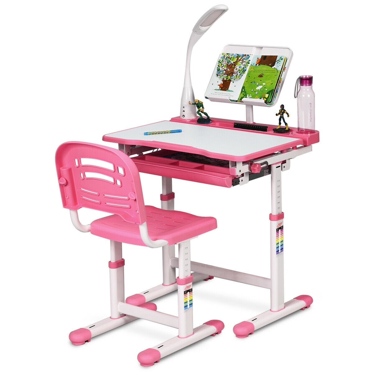 Shop Gymax Height Adjustable Kids Desk Chair Set Study Drawing W