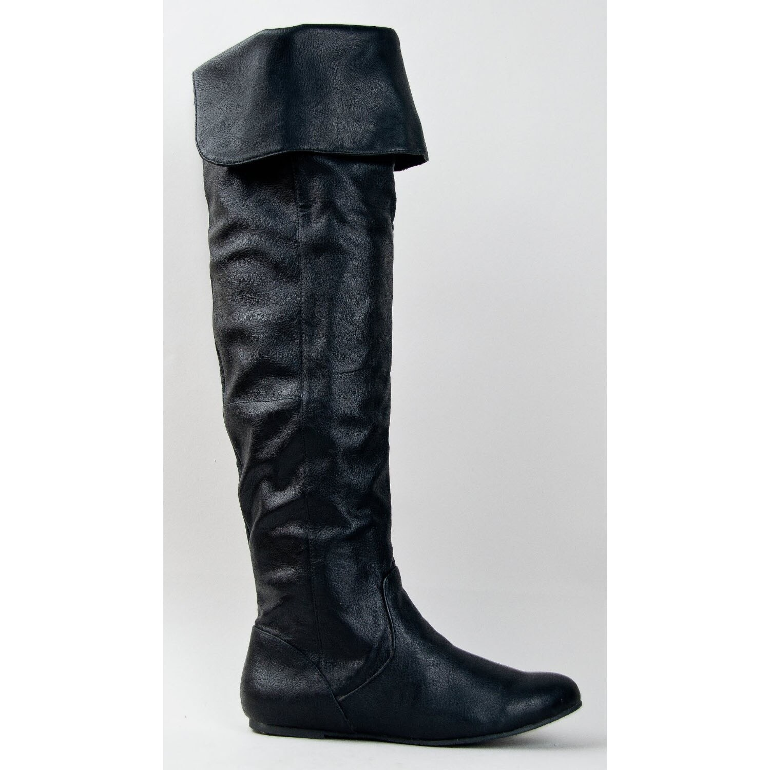 ab815d3a25117 Qupid Proud-09 Cuff Over The Knee Thigh High Or Knee High Slouchy Flat Boot
