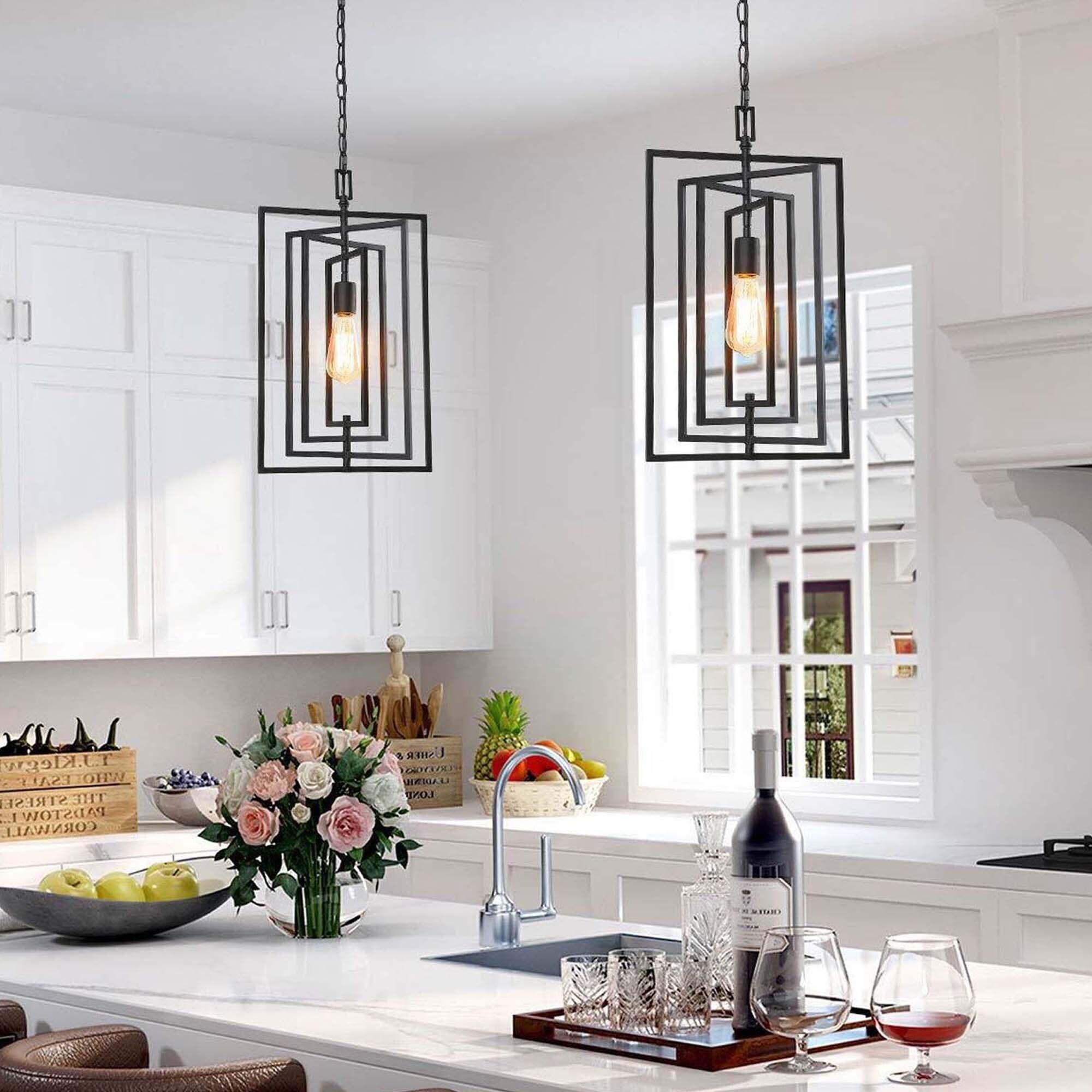 Modern Farmhouse Pendant Black Mini Hanging Ceiling Lighting Fixture For Kitchen W12 Xh20 4 Overstock 30375283