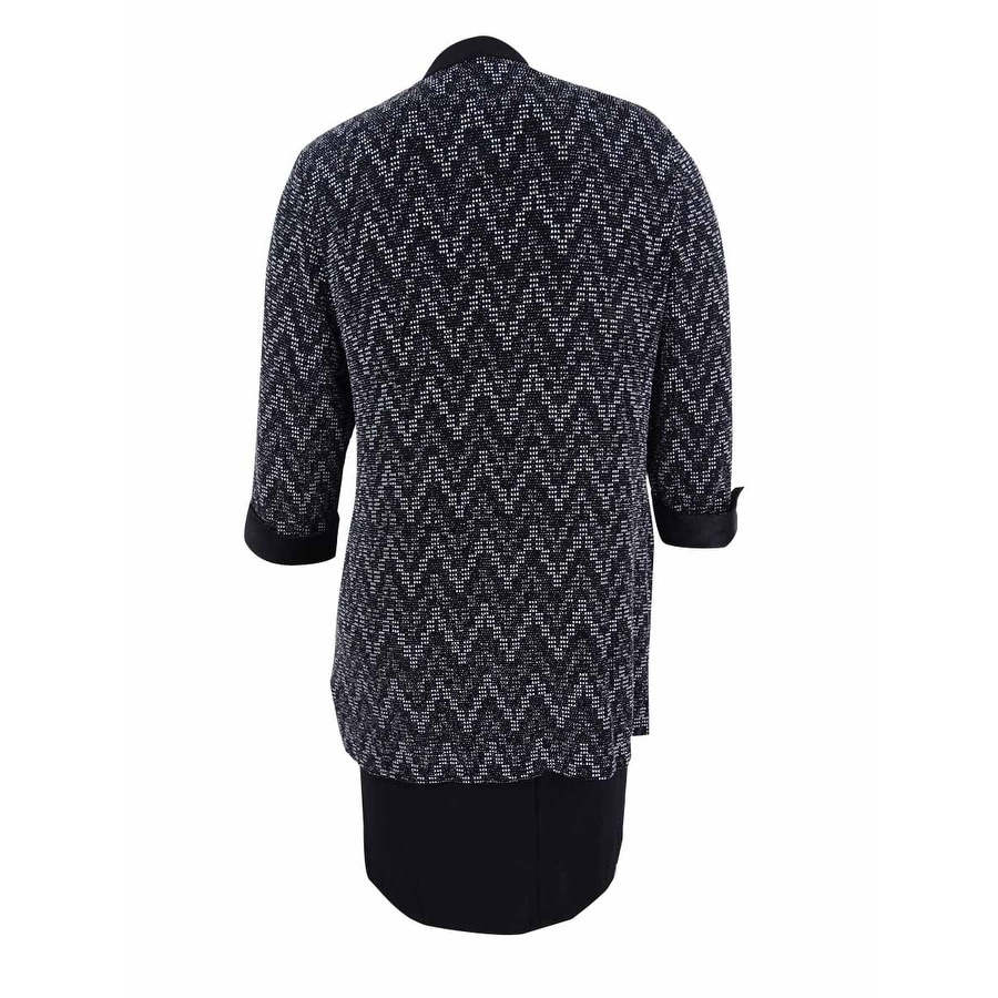 205d97b01f517 R M Richards Women s Plus Size Chevron Jacquard Dress and Duster Jacket -  Black silver