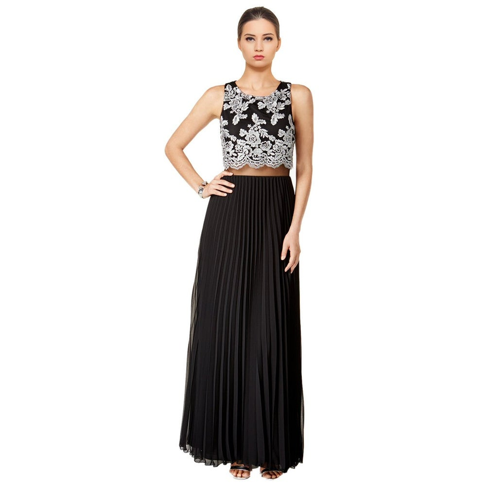 Shop Betsy & Adam Lace Popover Pleated Skirt Sleeveless Evening Gown ...