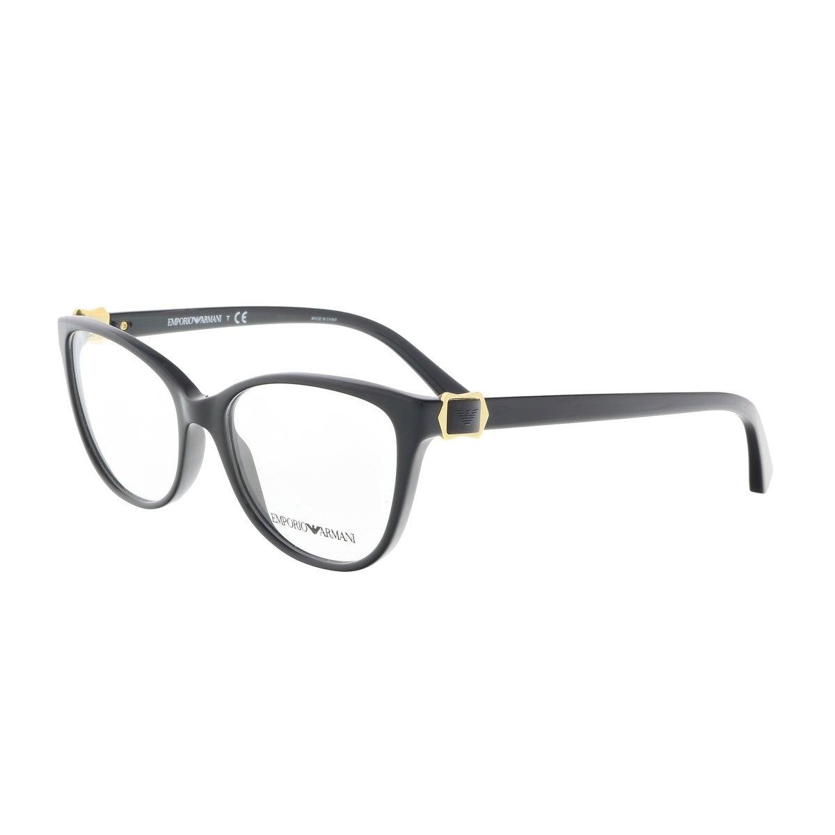 Shop Emporio Armani EA3077 5017 52 Black Round Optical Frames - 52 ...