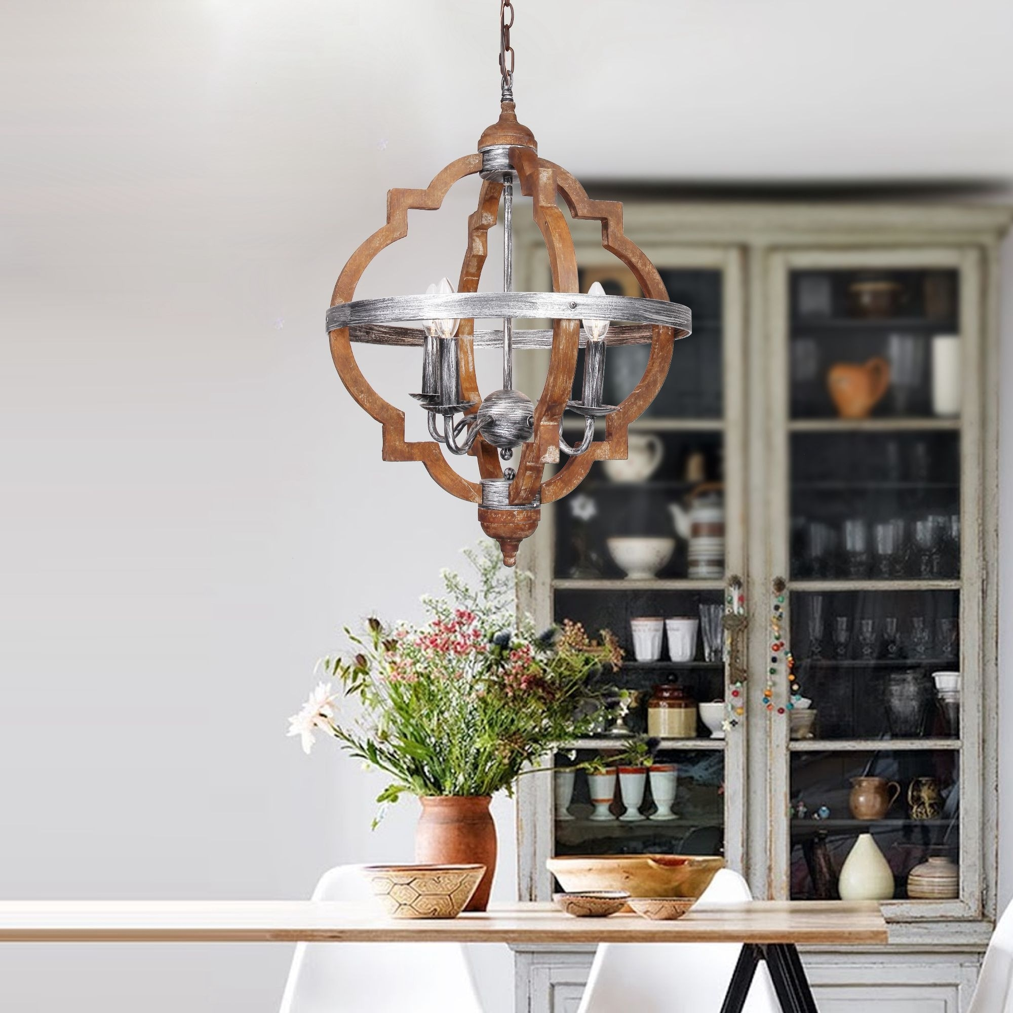 Antique distressed wood 4 light hall foyer chandelier free antique distressed wood 4 light hall foyer chandelier free shipping today overstock 26345156 aloadofball Images