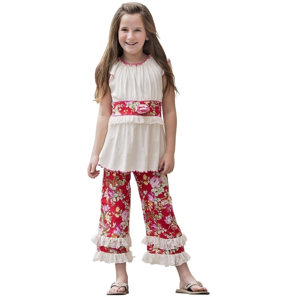 a481252ad Shop AnnLoren Little Girls Red Pink Floral Tunic 2 Pc Capri Clothing ...