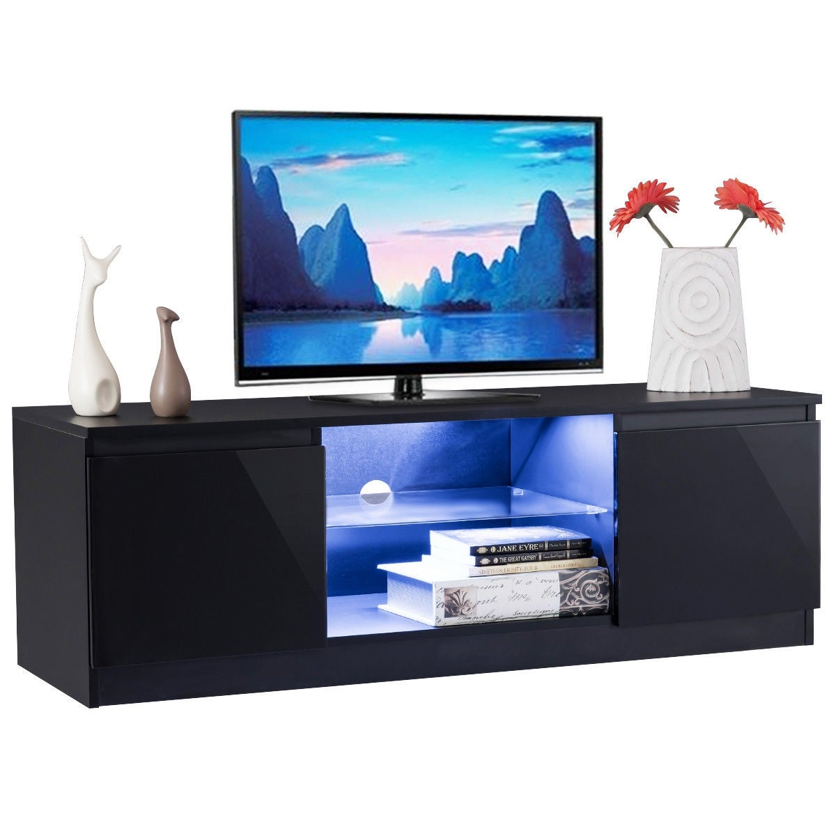 Costway High Gloss Tv Stand Unit Cabinet Media Console Furniture W Led Shelves Black Free Shipping Today 20510047