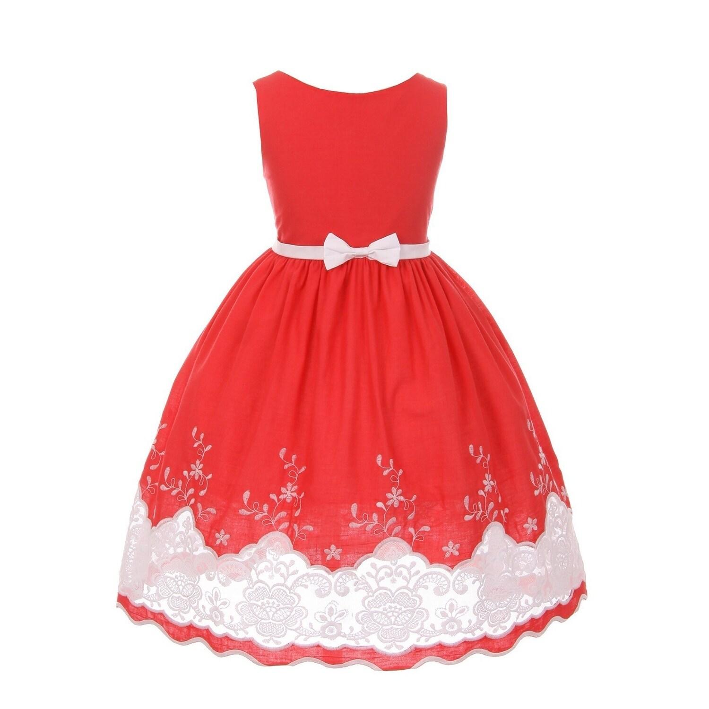 54002bcfc2cf Shop Kids Dream Little Girls Red Cotton Sheer Embroidery Flower Girl ...