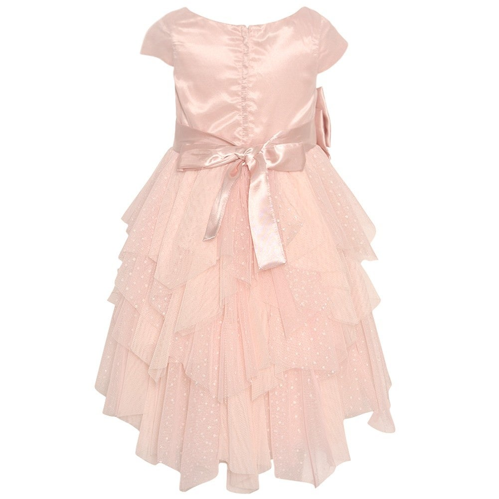 6871e7093411 Shop Biscotti Little Girls Pink Charmeuse Bow Cascade Sparkly Christmas  Dress - Free Shipping On Orders Over $45 - Overstock - 19294608