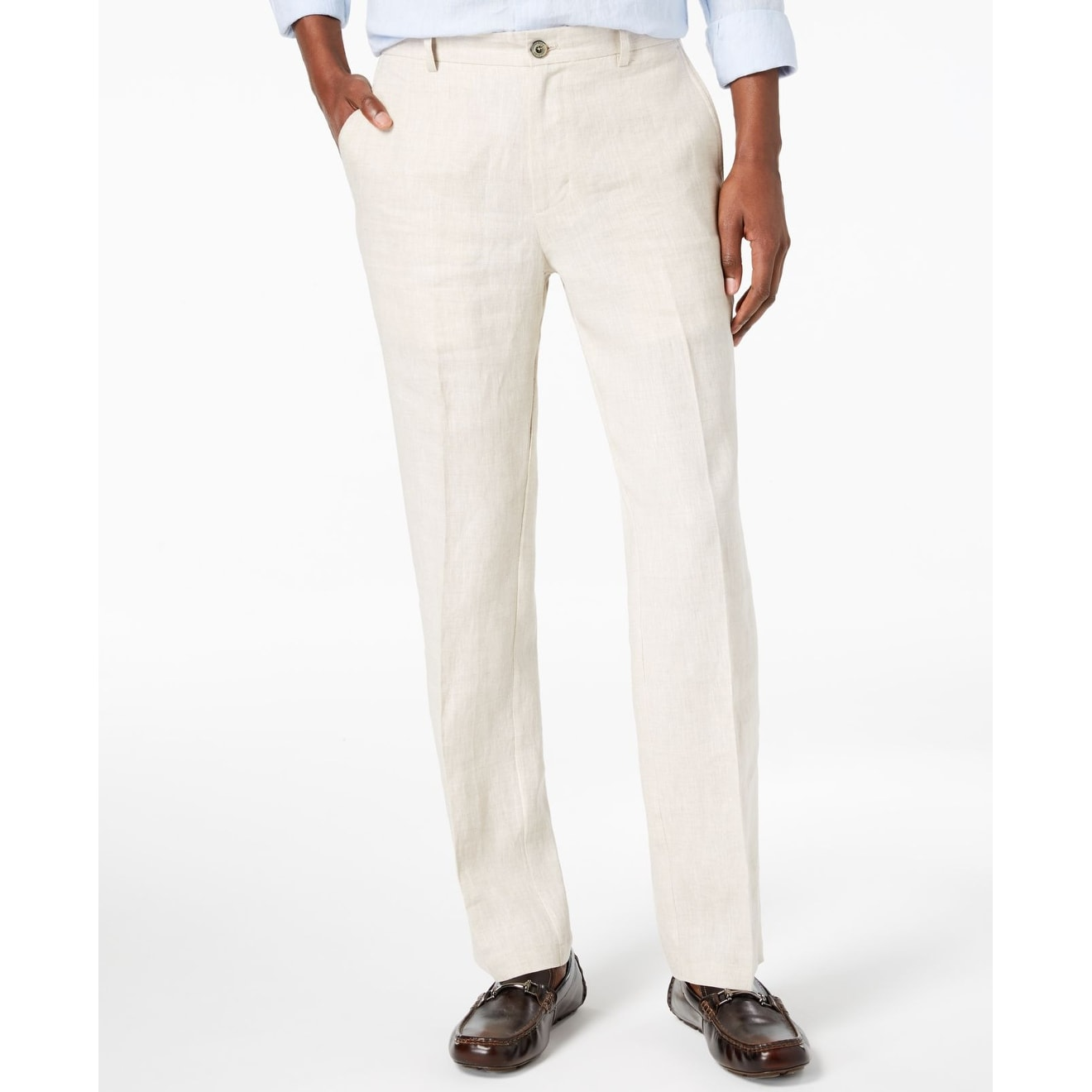 4c3049f4b0 Shop Tasso Elba Natural Beige Mens Size 38X30 Flat Front Linen Pants - On  Sale - Free Shipping On Orders Over $45 - Overstock - 28049320